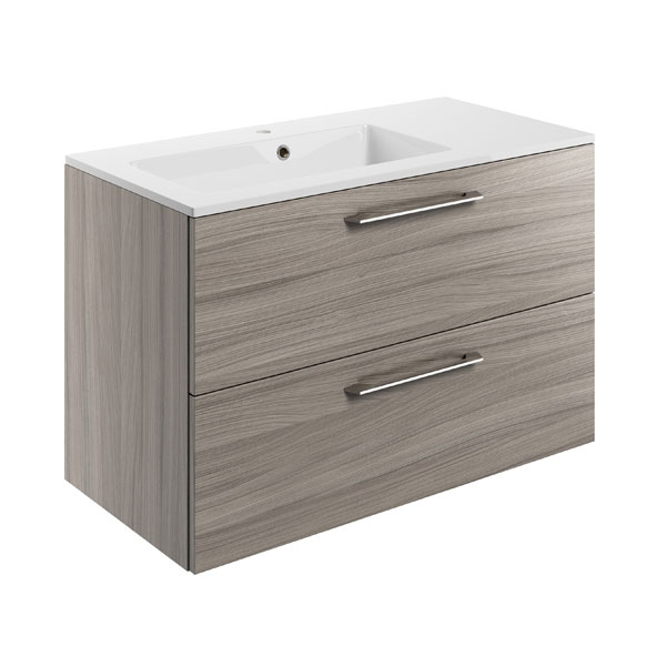 Moods Serena Grey Drift 900mm Two Drawer Vanity Unit Inc Offset Basin DIFTP1478