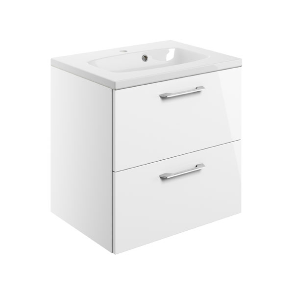 Moods Serena White Gloss 600mm Two Drawer Vanity Unit Inc Basin DIFTP1482