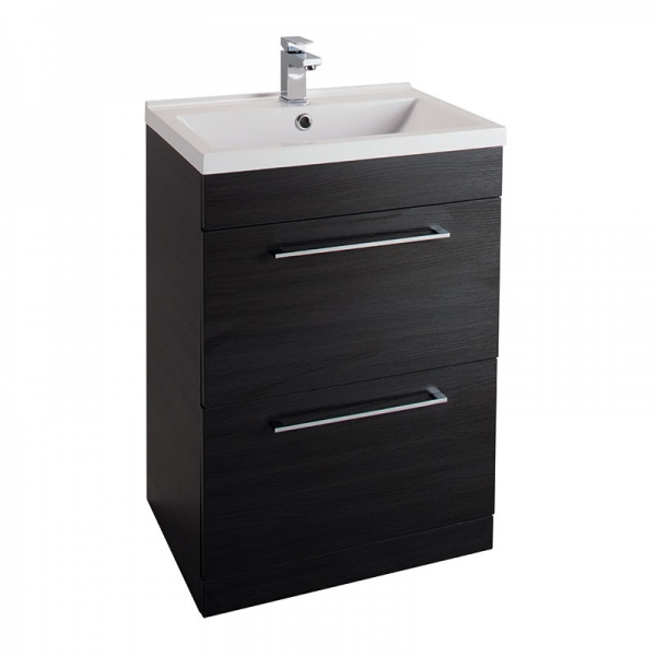 Cassellie Idon 600 Black 2 Drawer Basin Unit ID60FS-BLK