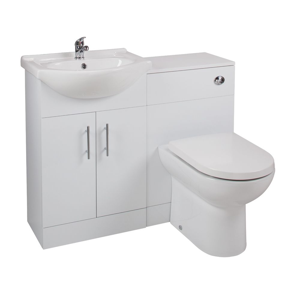 Cassellie Kass Series White Combination Unit with Devon Toilet LITHP01