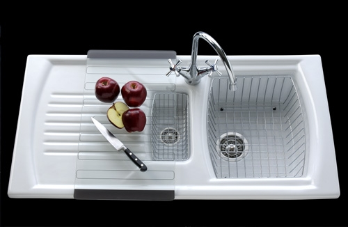 Ceramic Kitchen Sink With Drainer : ... Sonnet Ceramic Inset Sink - 1.5 Bowl and Single Drainer - C-SO15BWT