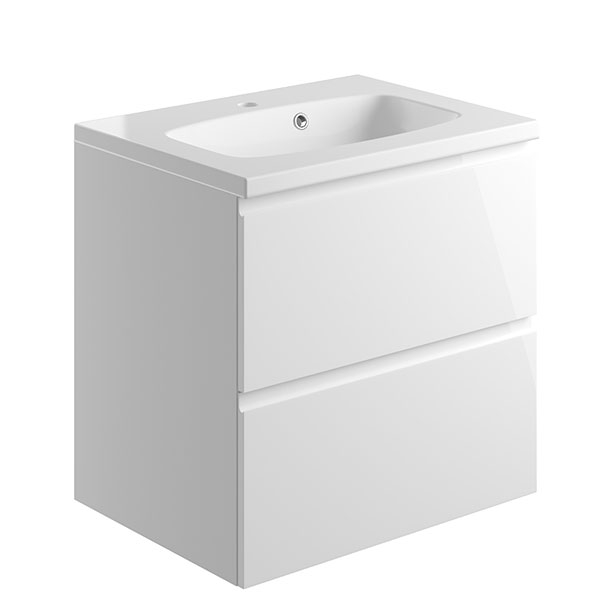 Bathrooms to Love Bello 600mm 2 Drawer Wall Mounted Vanity Unit Inc. Basin White Gloss