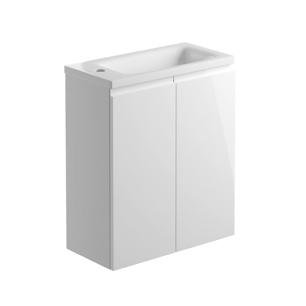 Bathrooms to Love Bello 500mm 2 Door Wall Mounted Cloakroom Vanity Unit Inc. Basin White Gloss
