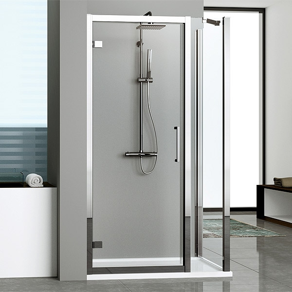 Novellini kuadra g f hinged door and fixed inline shower for Novellini shower doors