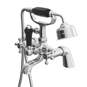 Cassellie Albert Chrome Bath Shower Mixer Tap with Black Indices ALB007