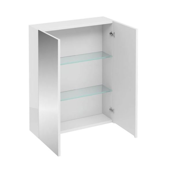 Britton D30 600 White Double Door Wall Hung Mirrored Cabinet AC40W
