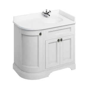 Burlington 1000 Right Hand Freestanding Curved Vanity Unit and Minerva Basin