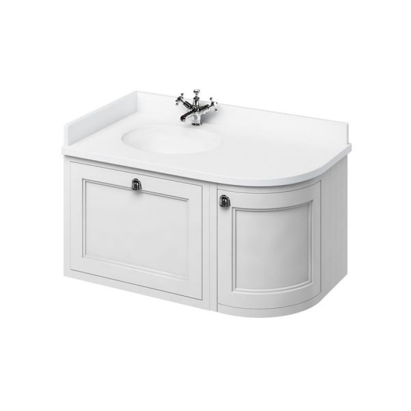 Burlington 1000 Left Hand Wall Hung Curved Vanity Unit and Minerva Basin