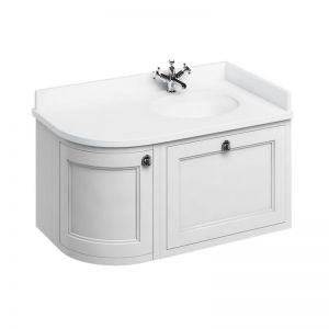 Burlington 1000 Right Hand Wall Hung Curved Vanity Unit and Minerva Basin