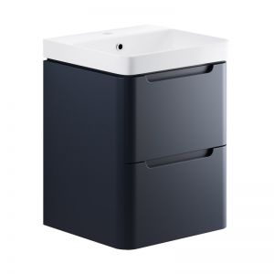 Moods Lambra 500 Matt Indigo Wall Hung Cloakroom Vanity Unit and Ceramic Basin DIFTP1786