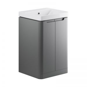 Moods Lambra 500 Matt Grey Floor Standing Cloakroom Vanity Unit and Ceramic Basin DIFTP1790