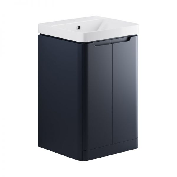 Moods Lambra 500 Matt Indigo Floor Standing Cloakroom Vanity Unit and Ceramic Basin DIFTP1792