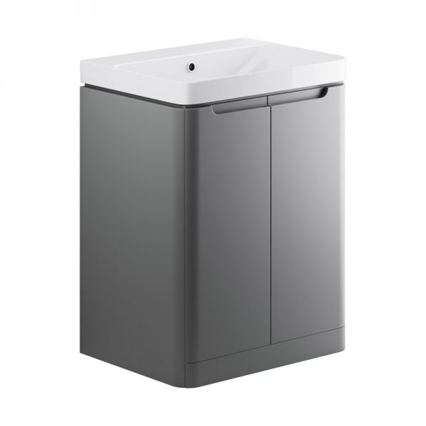 Moods Lambra 600 Matt Grey Floor Standing Vanity Unit and Ceramic Basin DIFTP1802