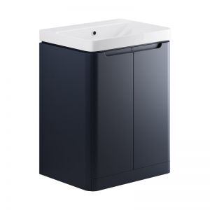 Moods Lambra 600 Matt Indigo Floor Standing Vanity Unit and Ceramic Basin DIFTP1804