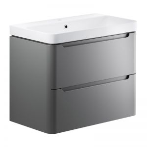 Moods Lambra 800 Matt Grey Wall Hung Vanity Unit and Ceramic Basin DIFTP1808