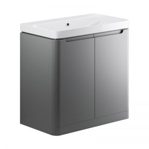 Moods Lambra 800 Matt Grey Floor Standing Vanity Unit  and Ceramic Basin DIFTP1814