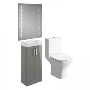 Moods Volta Grey Gloss Cloakroom Bathroom Suite