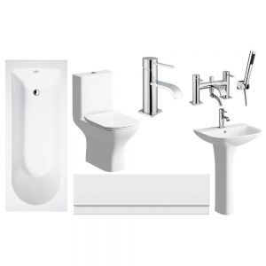 Moods Cedarwood Complete Bathroom Suite with Bath Shower Mixer