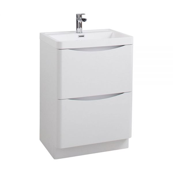Cassellie Bali 600 White Ash Floor Standing Unit and Ceramic Basin FSC594WB