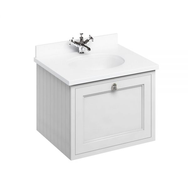 Burlington 650 Wall Hung Single Drawer Vanity Unit and Minerva Basin