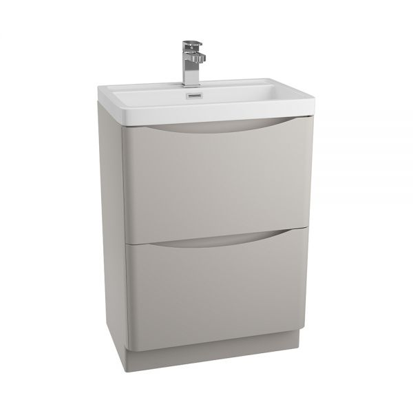 Cassellie Bali 600 Matt Grey Floor Standing Unit and Ceramic Basin GRYFSC594B