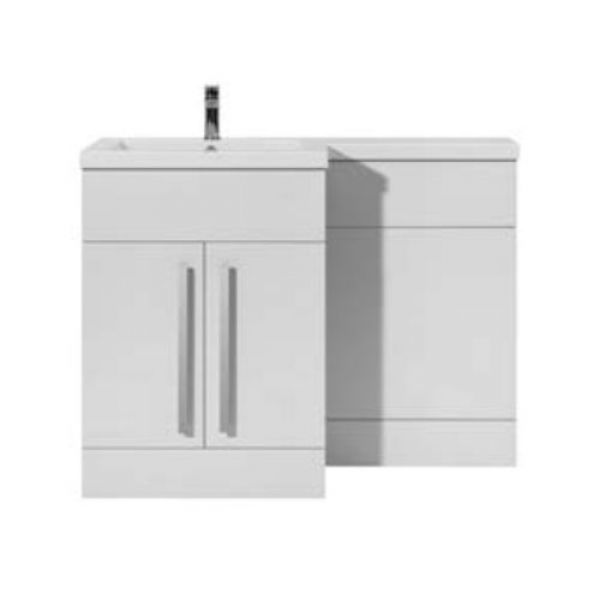 Hartland Sorrento 1100 White L Shaped Left Hand Vanity Unit and Basin with Satin Handle