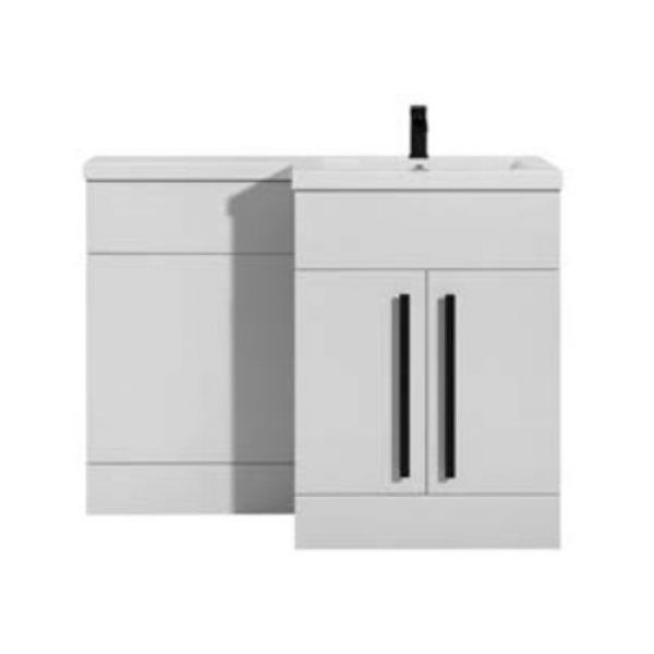 Hartland Sorrento 1100 White L Shaped Right Hand Vanity Unit and Basin with Black Handle