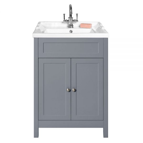 Hartland Turin Classic 600 Grey Floor Standing Vanity Unit and Ceramic Basin