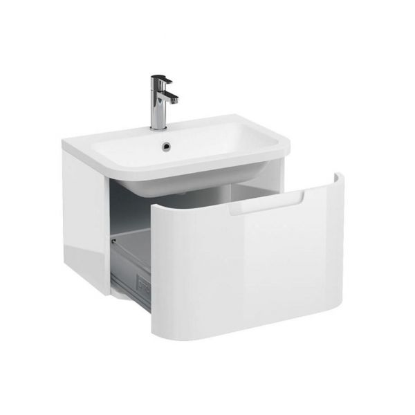Britton Compact White 1 Drawer Wall Hung Vanity Unit and Basin ACM3W Q6040