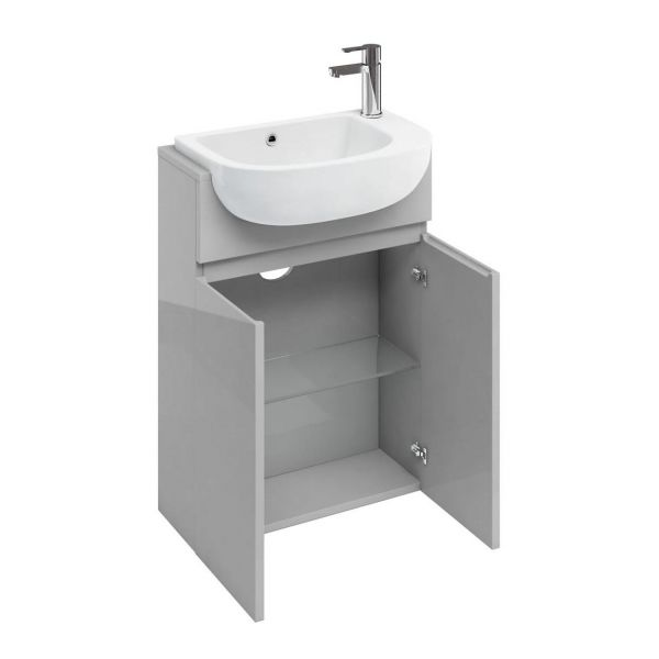 Britton Compact Light Grey 2 Door Semi Recessed Unit and Basin ACM5L CM0008 AT35L