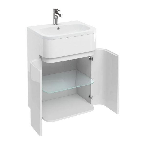 Britton Gullwing and Arc White 2 Door Unit and Basin AG41W Q6045G