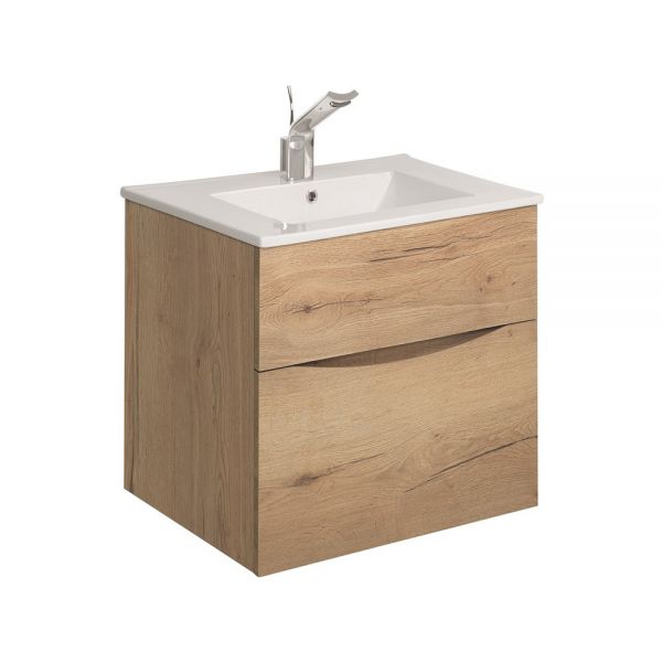 Crosswater Glide II 50 Two Drawer Windsor Oak Vanity Unit PLUS CERAMIC Basin GL5000DWO+ DE0002SCW