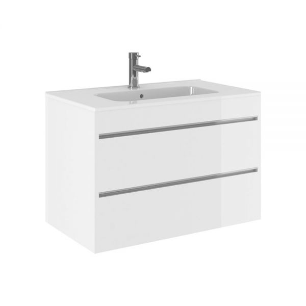Crosswater Kai X 800mm Double Drawer Wall Hung Vanity Unit and Basin