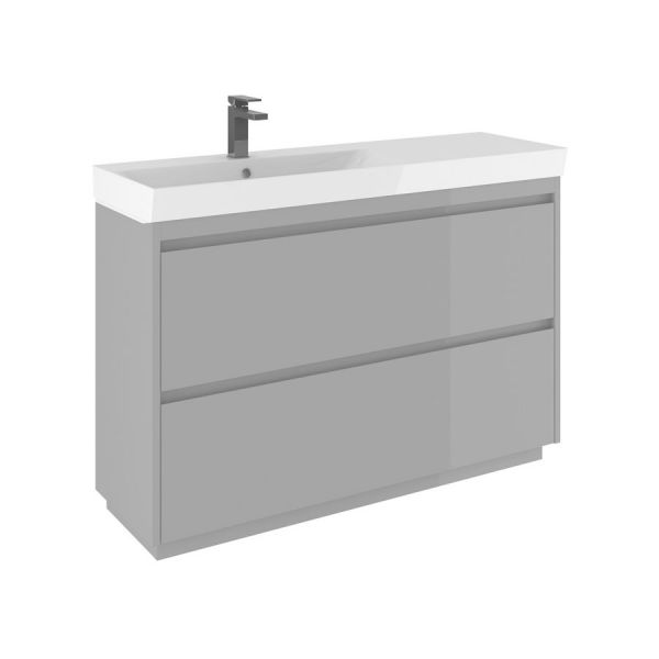 Bauhaus Zion 120 Double Drawer Storm Grey Matt Vanity Unit PLUS CERAMIC Basin
