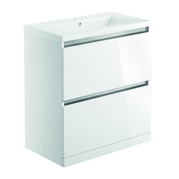 Bathrooms To Love Carino 800 White Gloss Floor Standing Vanity Unit and Basin