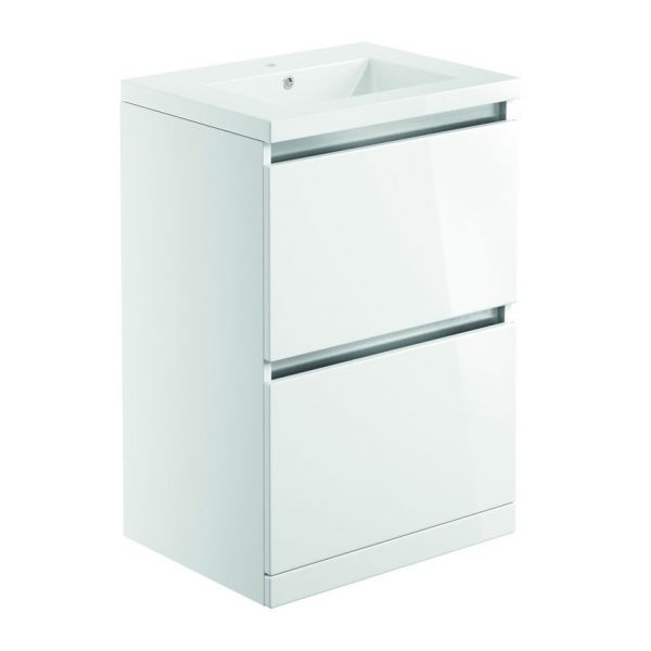 Bathrooms To Love Carino 600 White Gloss Floor Standing Vanity Unit and Basin