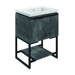 Bathrooms to Love Framework 600 Grey Metal Floor Standing Vanity Unit and Basin